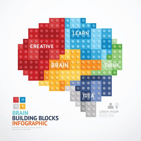 Infographic Template with heart shape building blocks . concept illustration Çizim