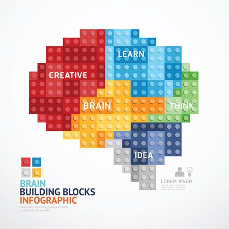 Plantilla infografía con bloques de construcción de forma de corazón. ilustración del concepto