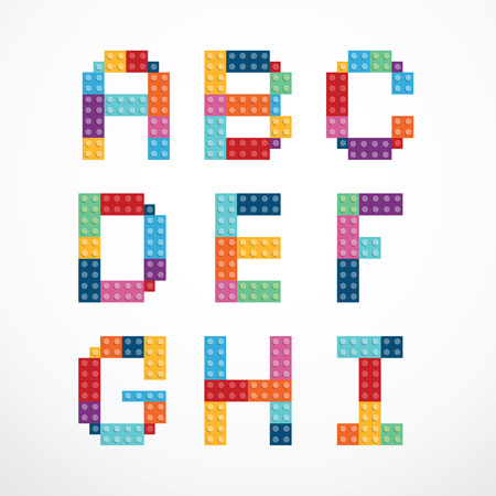 puzzle background: Alphabet blocks style set.