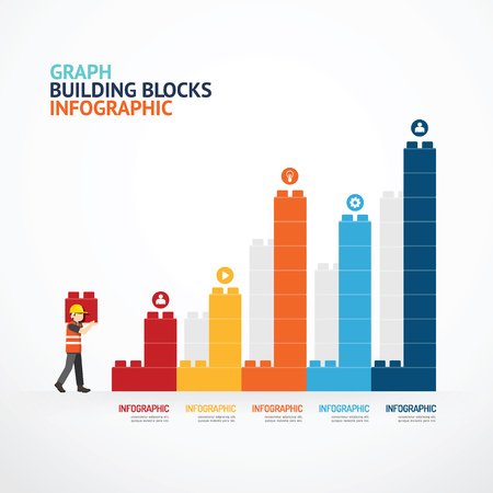 Infographic Template with  building blocks graph. concept illustration