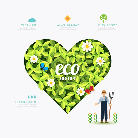 green heart: Ecology infographic green heart shape with farmer template design Illustration
