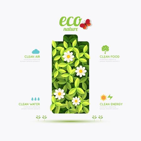 conceptual: Ecology infographic battery symbol shape design Illustration