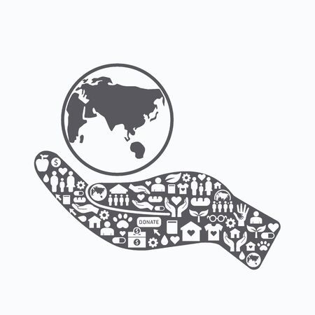 sheltering: Elements are small icons charity and donation on silhouette hand shape with earth