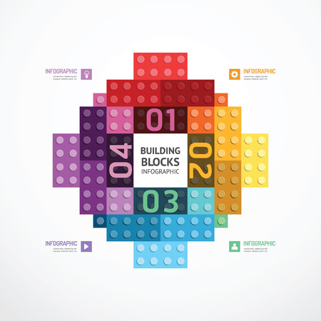 building color: Infographic color building blocks banner Template Illustration