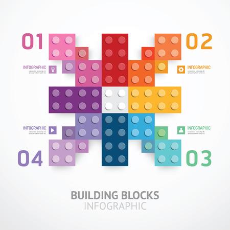 Infografik Farbe Bausteine ??Banner-Vorlage