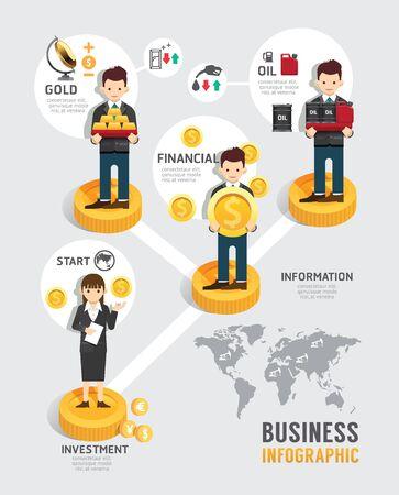 fondos negocios: Negocio de fondos de inversi�n tablero de juego l�nea plana Iconos del concepto de la etapa de inicio de infograf�a de �xito, ilustraci�n