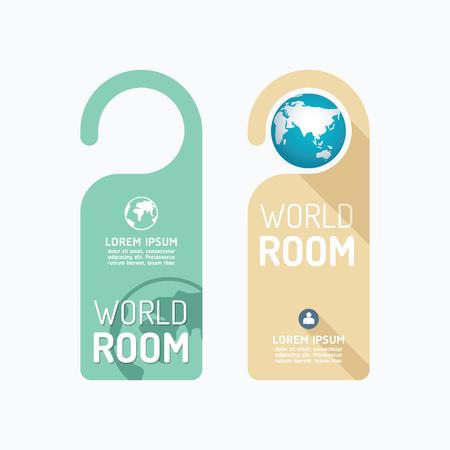 hangers: Paper door handle lock hangers concept world room  set.