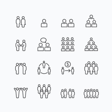 équipe et affaires silhouette icônes ligne plate design set. travail d'équipe au concept de réussite.