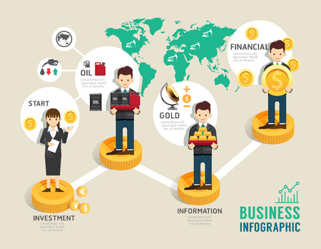 Business investment funds board game flat line icons concept infographic startup step to successful,illustration