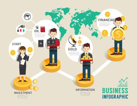Zakelijke beleggingsfondsen bordspel vlakke lijn pictogrammen begrip infographic startup stap op weg naar een succesvolle, illustratie Vector Illustratie