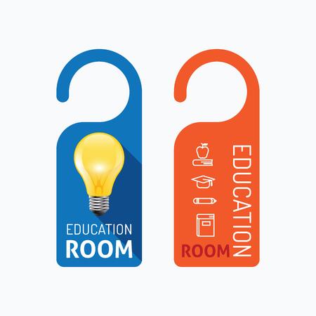 hangers: Paper door handle lock hangers concept education room  set. Illustration