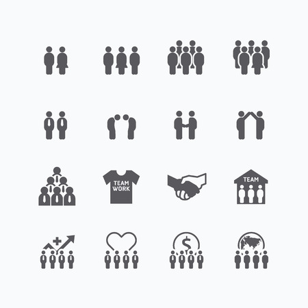 team and business silhouette icons flat line design set. teamwork to success concept.  イラスト・ベクター素材