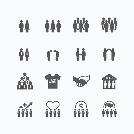 team en zakelijke silhouet iconen vlakke lijn ontwerp set. teamwork voor succes concept.