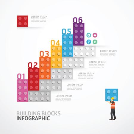 Infografik-Vorlage Schritt Bausteine ??Banner. Konzept Illustration