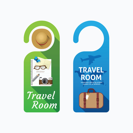 not open: Paper door handle lock hangers concept travel room set.
