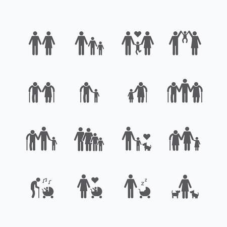 Familie Silhouette Symbole flach Design-Set.