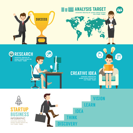 Startup Business design concept people set presentation with flat icons. illustration
