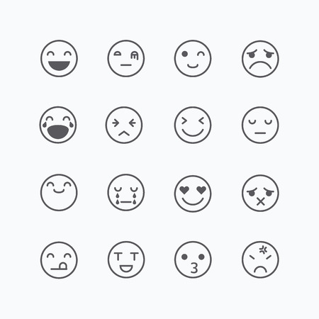 think: Emoji avatar collection set, emoticons isolated icons flat line design on white background, illustration.