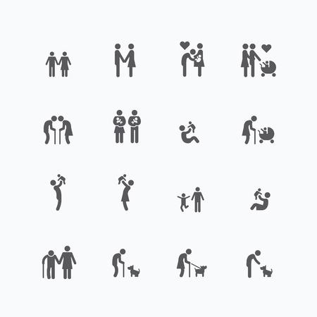 persona de la tercera edad: establece iconos de la silueta de la familia diseño plano vectorial.
