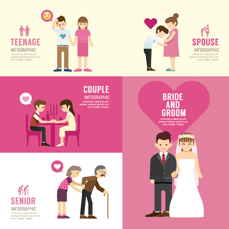 family illustration: Family people flat design with icons concept infographic love,vector illustration Illustration