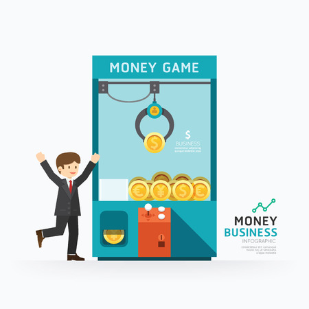 lucky man: Infographic business claw game template design. How to success concept vector illustration  graphic or web design layout.