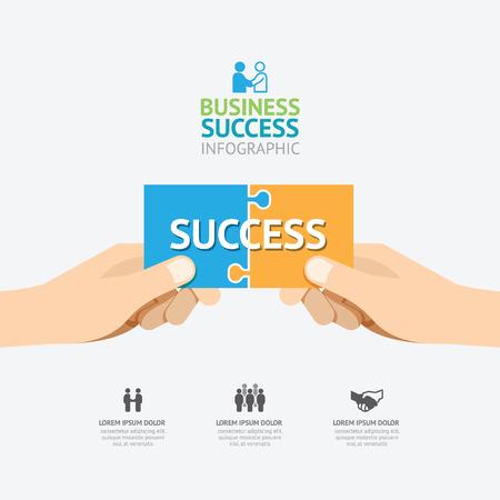 Infographic prise de main conception de modèle de puzzle. succès business concept illustration vectorielle / graphique ou web design layout.