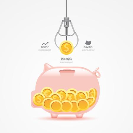 インフォ グラフィック ビジネス爪ゲーム コイン貯金テンプレート デザイン。お金ゲーム概念ベクトル イラストグラフィックや web デザイン レイ  イラスト・ベクター素材