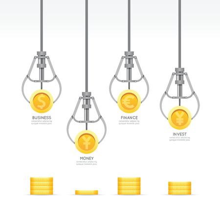 コインのデザイン テンプレートとインフォ グラフィック ビジネス爪ゲーム。お金ゲーム概念ベクトル イラストグラフィックや web デザイン レイア