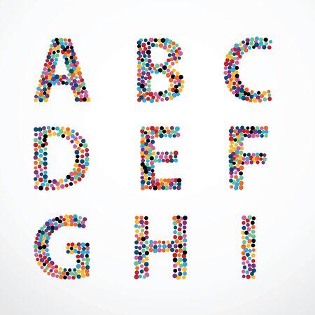 アルファベット円色ポイント スタイル ベクトルを設定します。  イラスト・ベクター素材