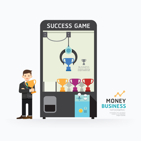 Infographic business claw game template design. How to success concept vector illustration / graphic or web design layout. Vettoriali
