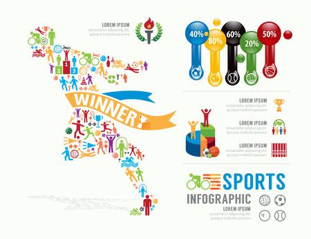 スポーツ テンプレート デザイン インフォ グラフィック。概念ベクトル図