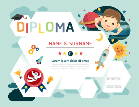 Certificate kids diploma, kindergarten template layout space background frame design vector. education preschool concept flat art style Çizim