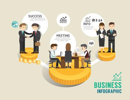 ビジネス株式市場のボードゲーム フラット ライン アイコン コンセプト インフォ グラフィックに成功したステップは、ベクトル イラスト