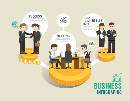 board: Business stock market board game flat line icons concept infographic step to successful,vector illustration