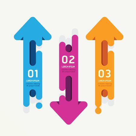 矢印ベクトル バナー リボン カラフルなタグ スタイル。インフォ グラフィックのため使用することができますバナー数のオプションの番号concept