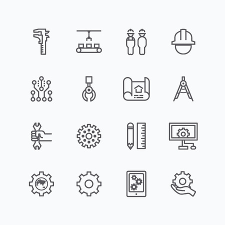 Engineering and manufacture silhouette icons set flat thin line design vector Vettoriali