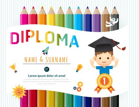Certificate kids diploma, kindergarten template layout pencil background frame design vector. education preschool concept flat art style