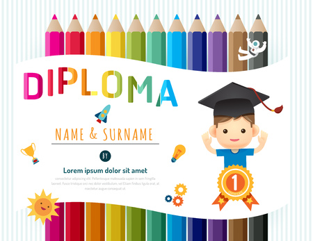 Certificate kids diploma, kindergarten template layout pencil background frame design vector. education preschool concept flat art style 版權商用圖片 - 60674570