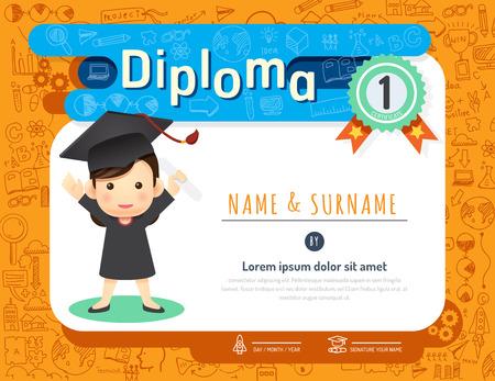 niños diploma certificado, diseño de plantilla de jardín de infancia del doodle idea de fondo de dibujo vectorial de diseño del marco. estilo de arte plana concepto de educación preescolar