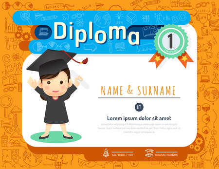 Certificate kids diploma, kindergarten template layout doodle sketch idea background frame design vector. education preschool concept flat art style