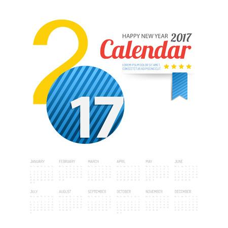 2017 カレンダー新年あけましておめでとうございます背景。グリーティング カード。ベクトルの図。  イラスト・ベクター素材