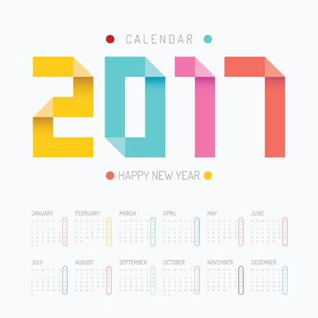 2017 カレンダー新年あけましてカラフルなベクター デザイン。
