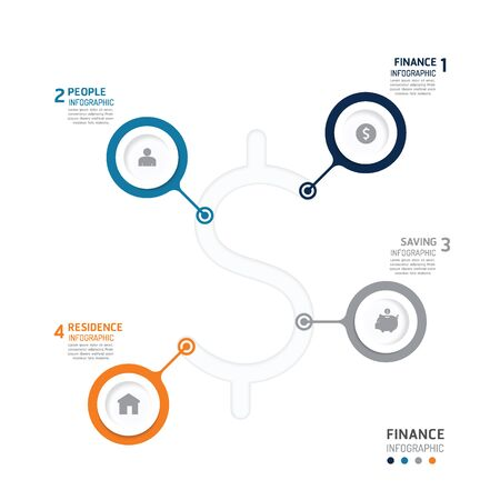 fiance: Business data process chart. Abstract elements of graph, diagram with icons. Vector illustration business infographics design template for presentation. can be used for workflow layout, number steps options