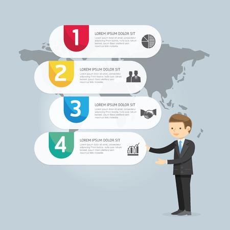 実業家 Presentation.vector イラスト インフォ グラフィック デザインとマーケティングのアイコン。ワークフローのレイアウト図、アニュアル レポート