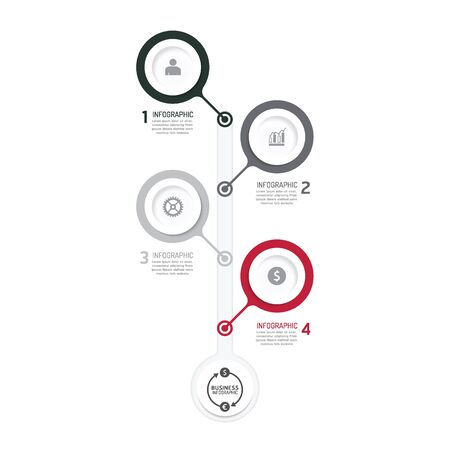 paper clip: Business data process chart. Abstract elements of graph, diagram with icons. Vector illustration business infographics design template for presentation. can be used for workflow layout, number steps options