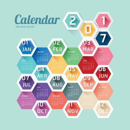 2017 カレンダー カレンダー ベクトル六角形の幾何学的なモダンなデザイン。  イラスト・ベクター素材