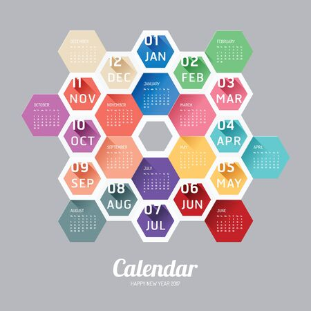 modern background: 2017 Calendar Calendar Vector  Hexagon geometric Modern Design. Illustration