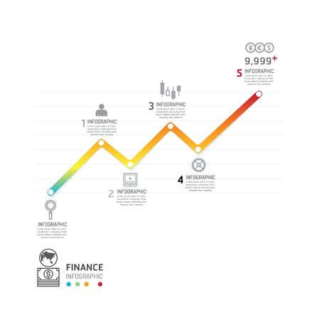 website: Business data process chart. Abstract elements of graph, diagram with icons. Vector illustration business infographics design template for presentation. Finance line concept.