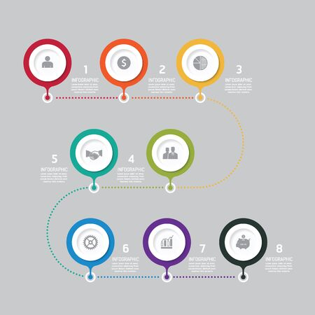 Business data process chart. Abstract elements of graph, diagram with icons. Vector illustration business infographics design template for presentation. can be used for workflow layout, number steps options