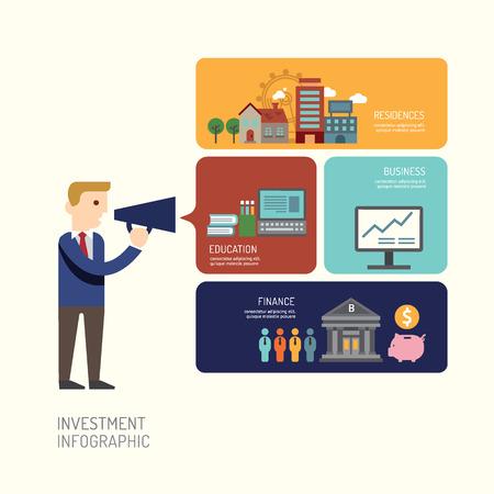 ビジネスマンの Presentation.vector 図フラット アイコンでのインフォ グラフィック デザインとマーケティング投資。ワークフローのレイアウト、図、